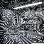 "The tape art pattern dubbed ""BandenMuster"" consists of adhesive tape."